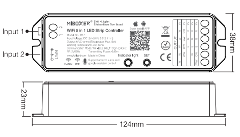 Kontroler LED MI-LIGTH RGB / RGBW / CCT8-strefowy 12-24V DC