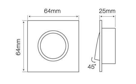 Oprawa halogenowa sufitowa kwadratowa ruchoma, odlew stopu aluminium, MR11 - biała matowa