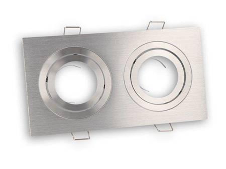Oprawa halogenowa sufitowa - podwójna, aluminium, ruchoma