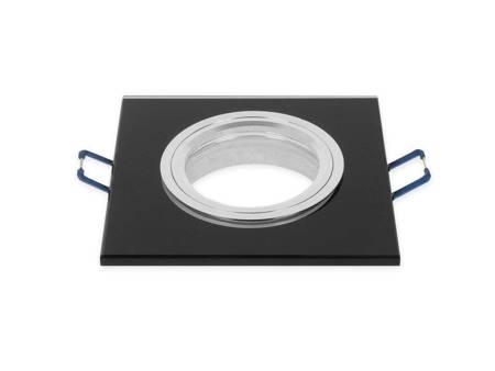 Oprawa halogenowa sufitowa szklana kwadratowa stała czarny - SMIRO