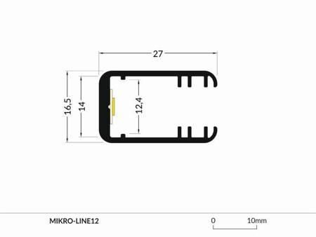 Profil krawędziowy na szybę 8mm  LED Mikro-Line12 J anodowany 2 metry