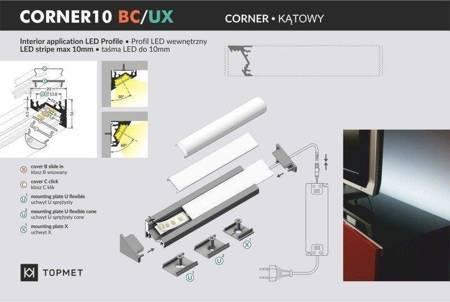 Profil narożny do taśm LED Corner10 BC/UX czarny 1 metr