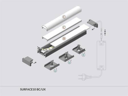 Profil nawierzchniowy do taśm LED Surface10 BC/UX anodowany 1 metr