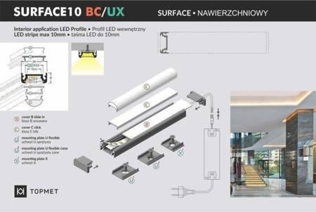 Profil nawierzchniowy do taśm LED Surface10 BC/UX czarny 2 metry