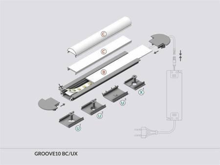 Profil wpuszczany do taśm LED Groove10 BC/UX anodowany 2 metry