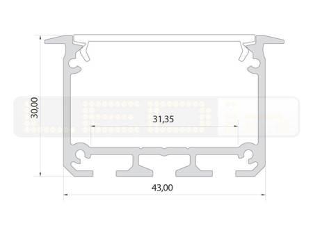 Profil wpuszczany srebrny anodowany typ INSO 1 metr