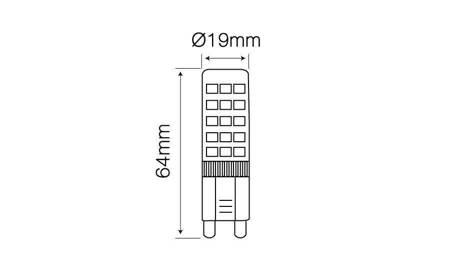 Żarówka LED G9 230V 8W 750lm 2700K  biała ciepła
