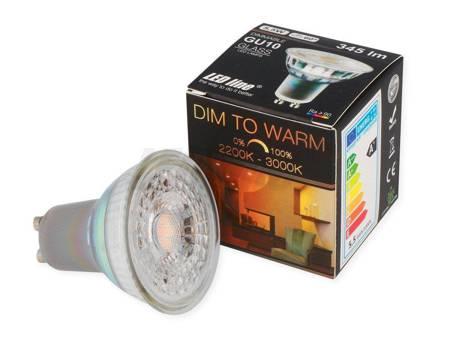 Żarówka LED line GU10 220~240V 5,5W 345lm 2200-3000K Dim to Warm