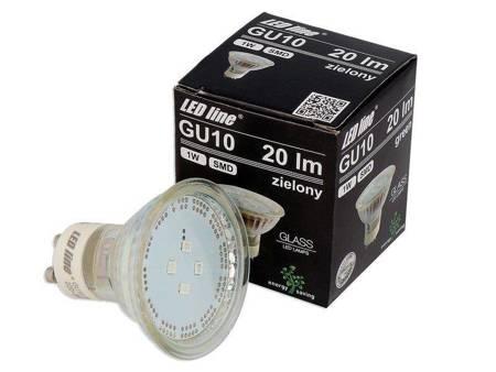 Żarówka LED line SMD GU10 1W 20lm 220-260V zielona